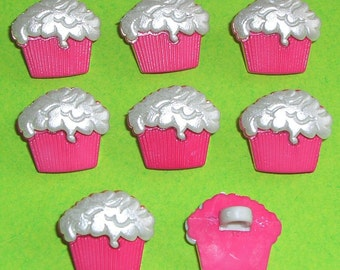HOT PINK and FROSTED Icing Cupcake Fairy Cake Muffin Shabby Chic Craft Buttons
