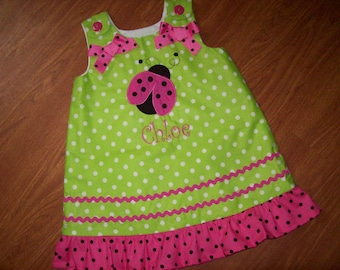 Custom BOUTIQUE Pink/Green LADYBUG personalized Dress/Jumper