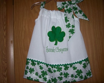 Custom BOUTIQUE Personalized PILLOWCASE Dress Shamrock St. Patrick's Day