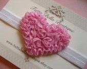 Pink Heart Headband, Light Pink Chiffon Rosette Headband, Baby Hair Bow, Toddler Headband, Pink Newborn Bow