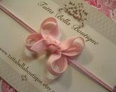 Light Pink Mini Hair Bow Headband or Hair Clip -  Pink Stretchy Elastic Headband - Babies, Toddlers