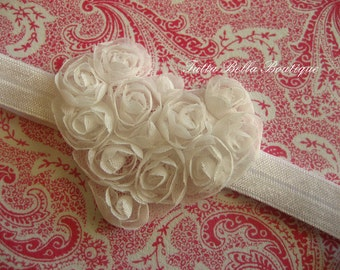 White Heart Headband or Hair Clip, Baby Headband, Baby Hair Bow, White Chiffon Heart, Toddler Headband, Newborn Headband