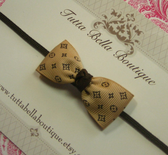 Mini Hair Bow Headband - Louis Vuitton Inspired Bow - Skinny Stretchy Headband - Babies - Toddlers - Teens - Adults