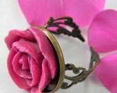 Pink  Vintage Rose Adjustable Cabochon Ring
