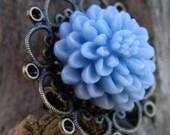 Light Blue Cabochon Filigree Brooch