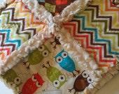 Rag Quilt Baby Boy Robert Kaufman Owls Urban Zoologie Remix Minky Security Blanket