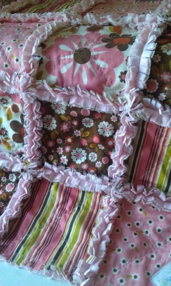 Baby Girl Rag Quilt Pink Brown Indian Summer Minky Riley Blake Security Blanket