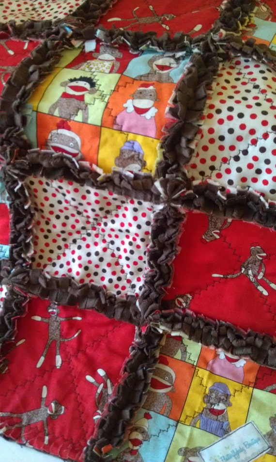 Sock Monkey Baby Rag Quilt Boy Girl Moda Funky Monkey Minky Security Blanket