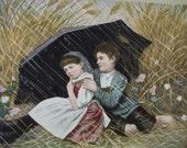 Cute Kids in the Rain under Umbrella - Vintage Photo Postcard - early 1900's