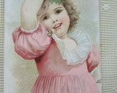 RESERVED for SHIRLEYSATTIC - Do Not Buy-------------Pretty Little Girl in Pink Dress and Big Brown Eyes - Munn's Pianos - early 1900's