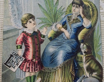 Ailing Mother with Little Girl and Dog - Victorian Trade Card - Carter's Little Liver Pills - 1800's