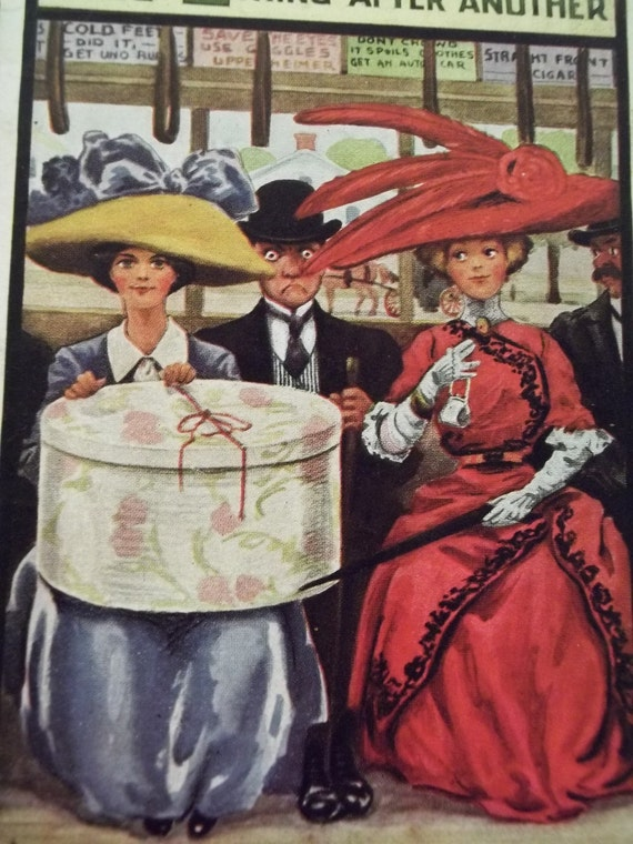 Ladies on Train with Large Hats and Hat Box - Life Series - Vintage Postcard - 1910