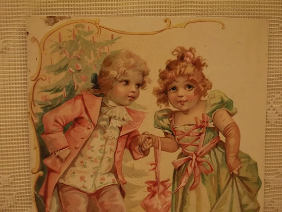 Cute Colonial Kids in Colorful Clothing - Victorian Trade Card - Lion Coffee - Frances Brundage - 1800's