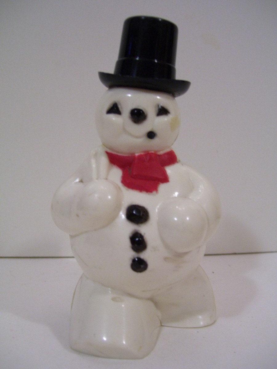 Vintage Hard Plastic Snowman Planter
