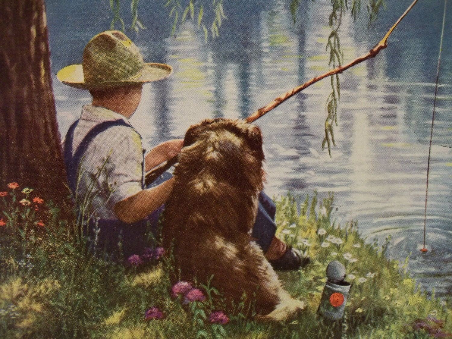 Cute little boy fishing with his dog under the weeping willow for Little kid fishing pole