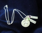 Mothers Sterling Silver Necklace Handstamped My Girls Personalized Keepsake
