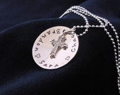 Hand stamped Sterling Silver Domed Cross Necklace Personalized with Names