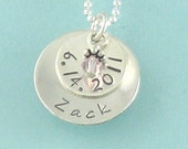 Baby Shower Gift for a New Mom Handstamped Personalized with a Birthstone