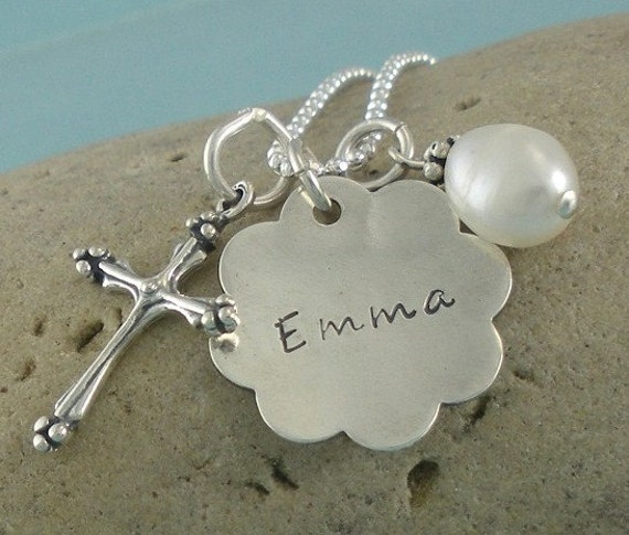 Confirmation Baptism First Communion Sterling Silver Personalized Handstamped Necklace with Cross