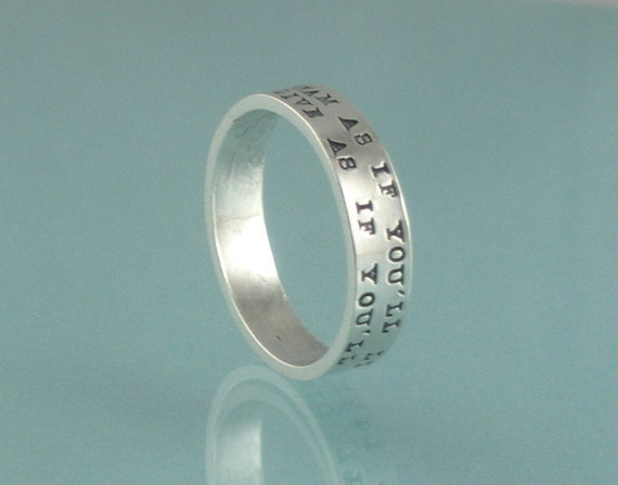 Hand Stamped Sterling Silver Ring 2 Line PromiseTiny Typewriter Font