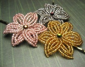 Rich Eart  - Bobby Pins or U-Pins - French Beaded Flower
