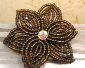 Java Express  -  Hair Clip or Brooch Pin - French Beaded Flower