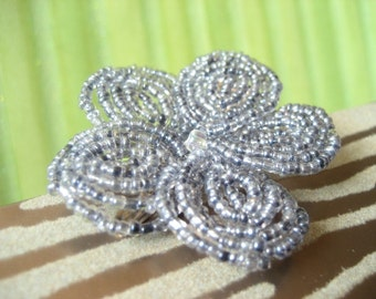 Storm -  Hair Clip or Brooch Pin - French Beaded Flower