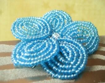 Caribbean Seas  -  Hair Clip or Brooch Pin - French Beaded Flower