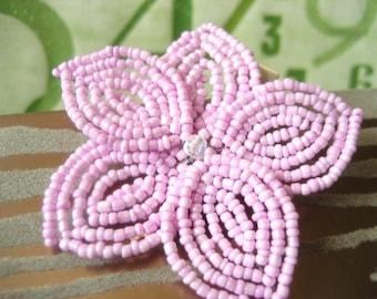 Sweet Nadeshiko -  Hair Clip or Brooch Pin - French Beaded Flower