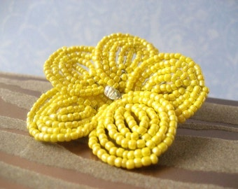 Morning Sunshine  -  Hair Clip or Brooch Pin - French Beaded Flower