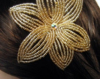 Venus -  Hair Clip - French Beaded Flower
