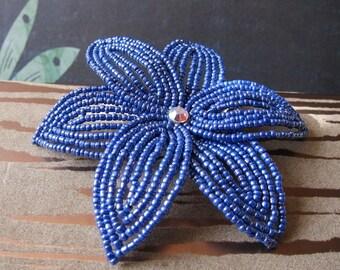 I Got the Blues  -  Hair Clip - French Beaded Flower