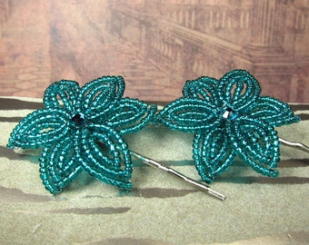 Perfect Teal - Bobby Pins or U-Pins - French Beaded Flower