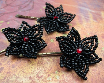 Victorian Goth Jewels - Bobby Pins or U-Pins - French Beaded Flower