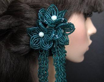 Poseidon's Treasure - Hair Stick Fork Pin - French Beaded Flower Kanzashi Maiko Geisha Japanese Hair Accessory