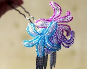 Floralia Bloom - Hair Fork Pin or Alligator Clip - French Beaded Flower Bira Bira Kanzashi Maiko Geisha Japanese Hair Accessory