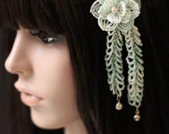 Lushes Springs - Hair Clip - French Beaded Flower Kanzashi Maiko Geisha Japanese Hair Accessory