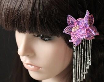 Fireflight -  Hair Clip - French Beaded Flower Bira Bira Kanzashi Maiko Geisha Japanese Hair Accessory