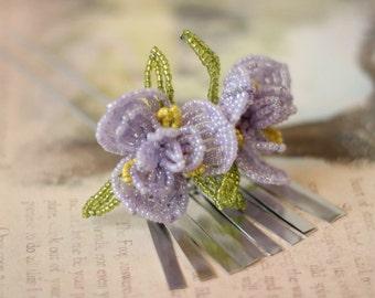 Star Iris -  Hair Pin - French Beaded Flower Bira Bira Kanzashi Maiko Geisha Japanese Hair Accessory