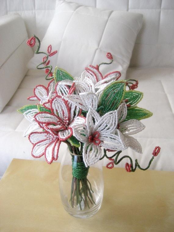 Gerberas Bouquet - French Beaded Flower -