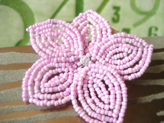 Sweet Nadeshiko -  Hair Clip or Brooch Pin - French Beaded Flower