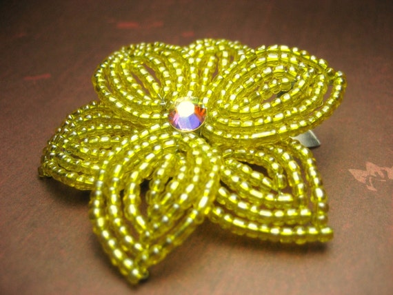 Aureolin Star -  Hair Clip or Brooch Pin - French Beaded Flower