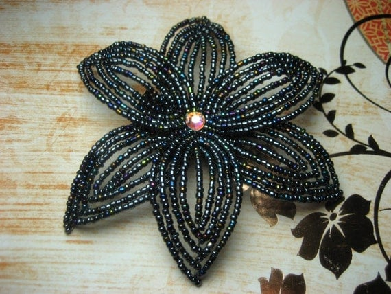 Deja Vu  -  Hair Clip - French Beaded Flower