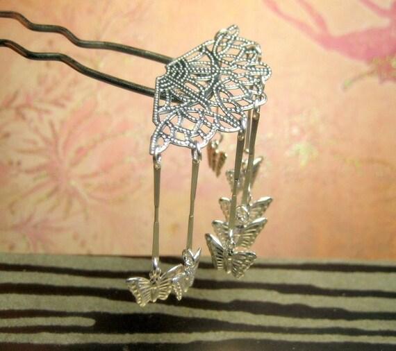 Butterfly Veil -  Hair Fork Pin Bira Bira Kanzashi Maiko Geisha Japanese Hair Accessory