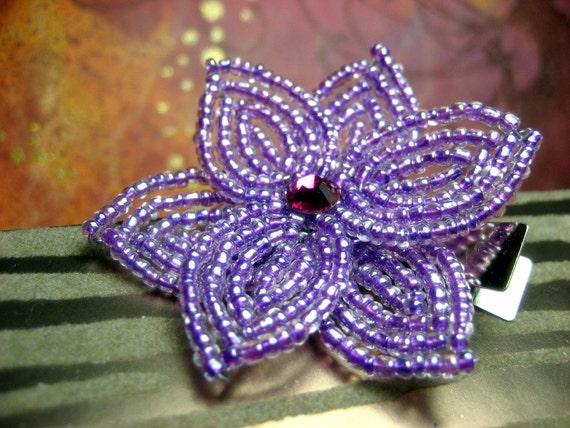 Violette  -  Hair Clip or Brooch Pin - French Beaded Flower