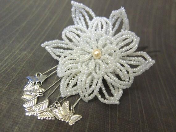 Mira Butterflies - Hair Fork Pin or Alligator Clip - French Beaded Flower Bira Bira Kanzashi Maiko Geisha Japanese Hair Accessory