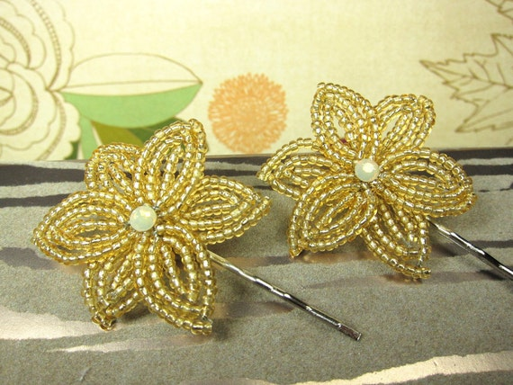 Golden Sand - Bobby Pins or U-Pins - French Beaded Flower