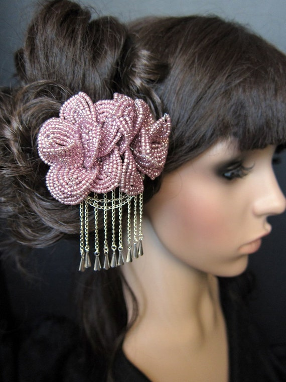 Victorian Romance - French Beaded Flower Rose Bira Kanzashi Pin