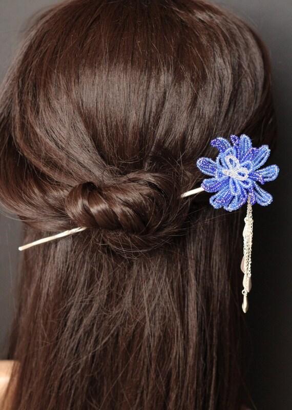 Blue Flower - French Beaded Flower Kanzashi Hair Stick