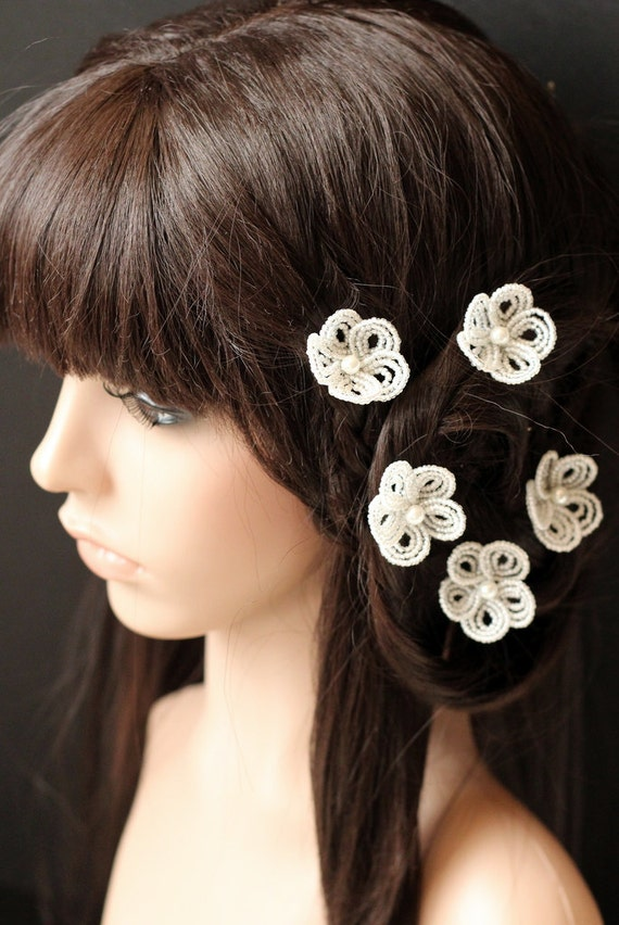 Snow Flower - U-Pins or Bobby Pins - French Beaded Flower